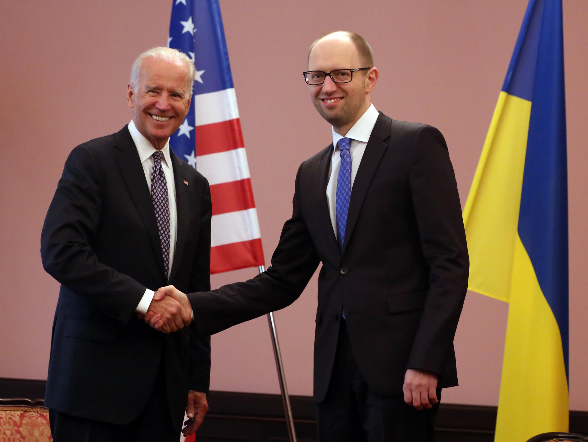Vice President Joe Biden meets with Ukraine's acting prime minister, Arseny Yatsenyuk, in Kiev on Tuesday.