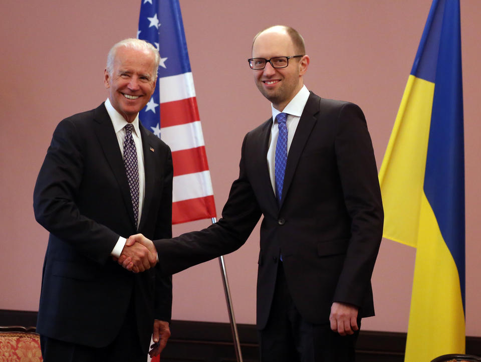 Vice President Joe Biden meets with Ukraine's acting prime minister, Arseny Yatsenyuk, in Kiev on Tuesday.