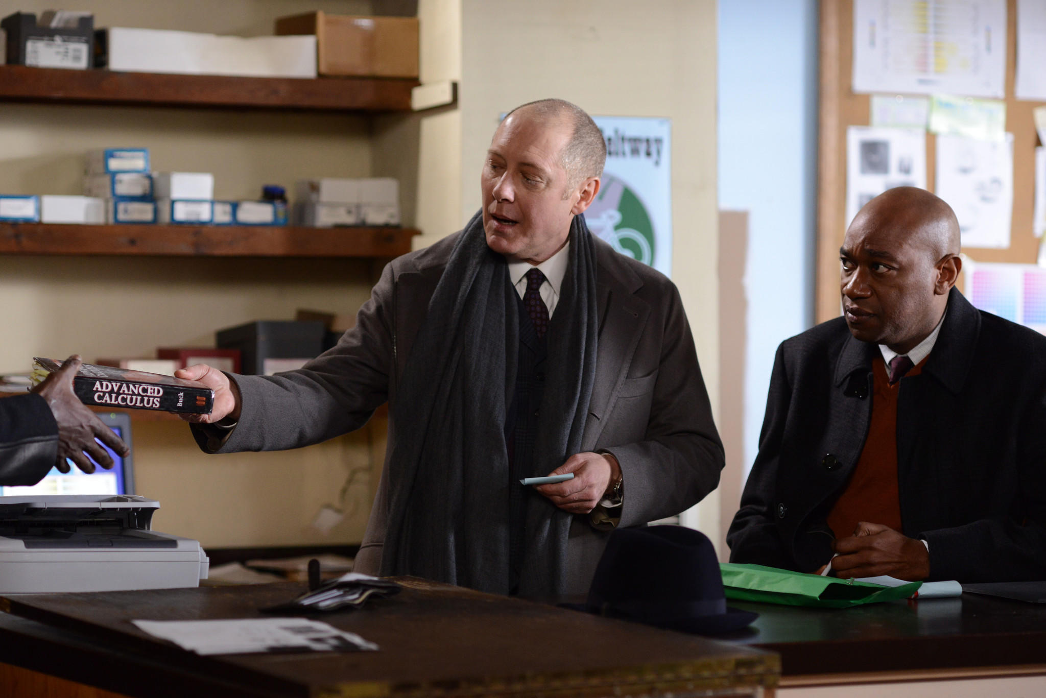 "James Spader, left, and Marc Damon Johnson in ""The Blacklist."""