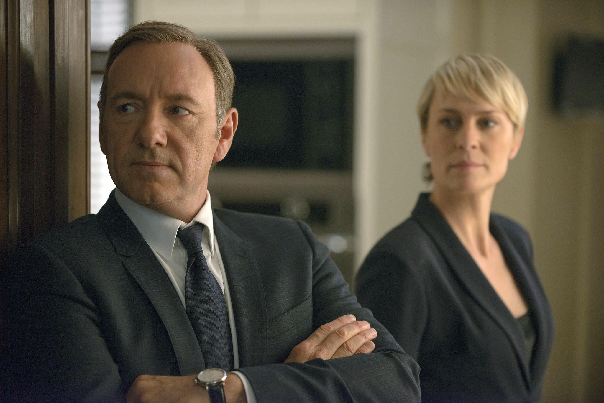 "Kevin Spacey as Francis Underwood, left, and Robin Wright as Clair Underwood in a scene from Netflix's original drama ""House of Cards."""