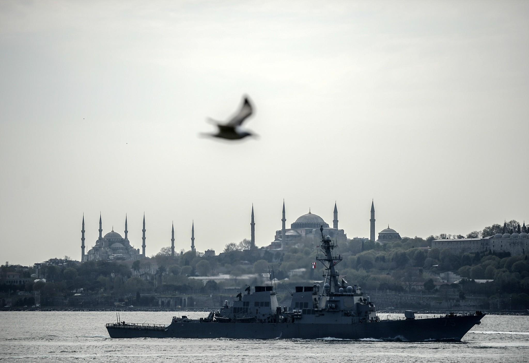 The U.S. guided-missile destroyer Donald Cook sails past Istanbul, Turkey, en route to the Black Sea.