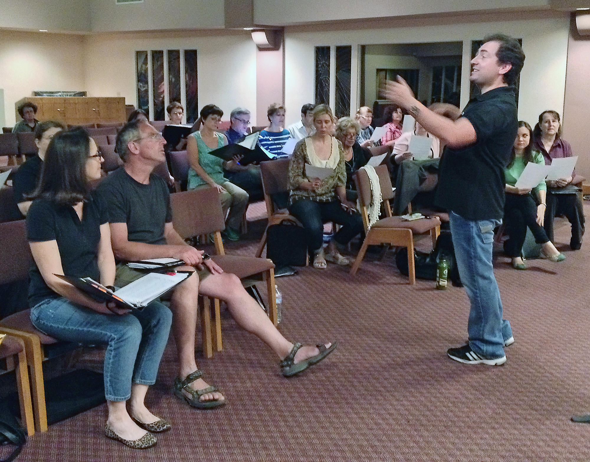"Artistic Director Mikhail ""Misha"" Shtangrud directs the Burbank Chorale in a rehearsal for the program dedicated to Shakespeare scheduled for this Saturday at Burbank First United Methodist Church."
