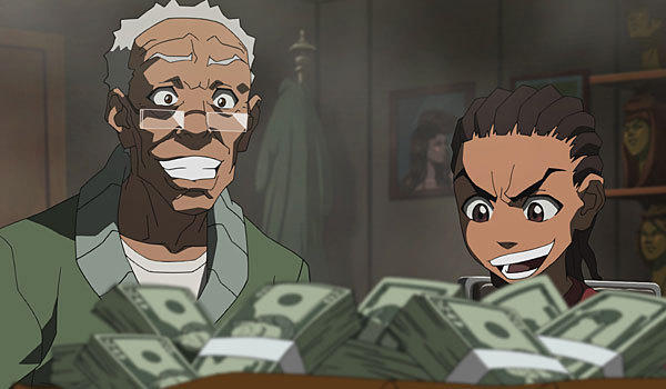 "Granddad and Riley appear in a scene from ""The Boondocks."""