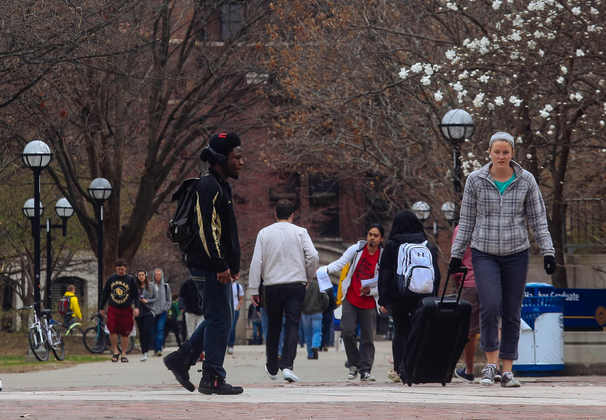 Students walk through the Ann Arbor campus of the University of Michigan in Ann Arbor, Mich. The United States Supreme Court on Tuesday upheld Michigan's ban on affirmative action enacted by voters in 2006.