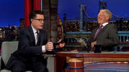 Stephen Colbert right at home on Letterman's 'Late Show'