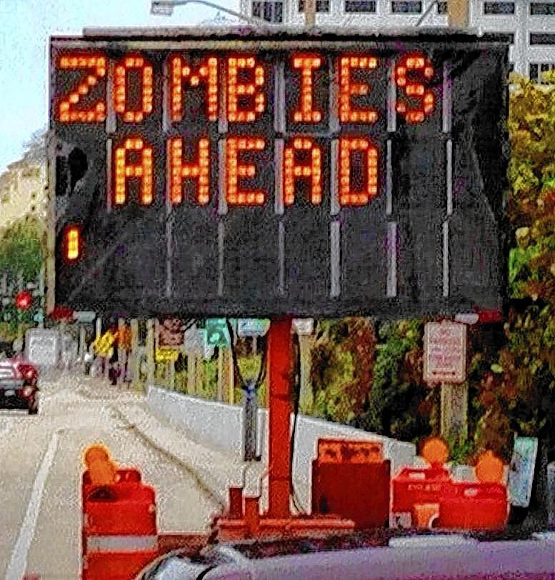 The flashing sign announcing bridge work on Las Olas Boulevard in Fort Lauderdale was displaying an unusual message Tuesday morning, April 22, 2014.