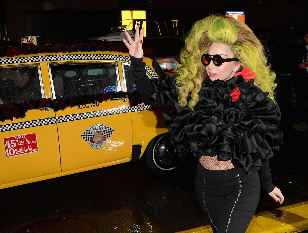 Pop star Lady Gaga arrives at Roseland Ballroom April 7, 2014 in New York City.