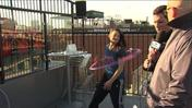 Hula Hoop tricks in honor of Wrigley's 100th birthday celebration
