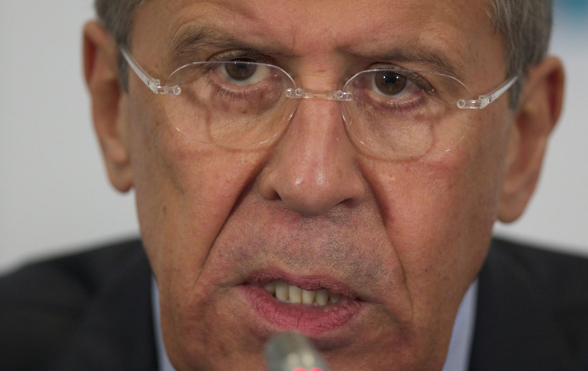 Russian Foreign Minister Sergei Lavrov speaks during a news conference after a meeting of foreign ministers from Caspian countries in Moscow.