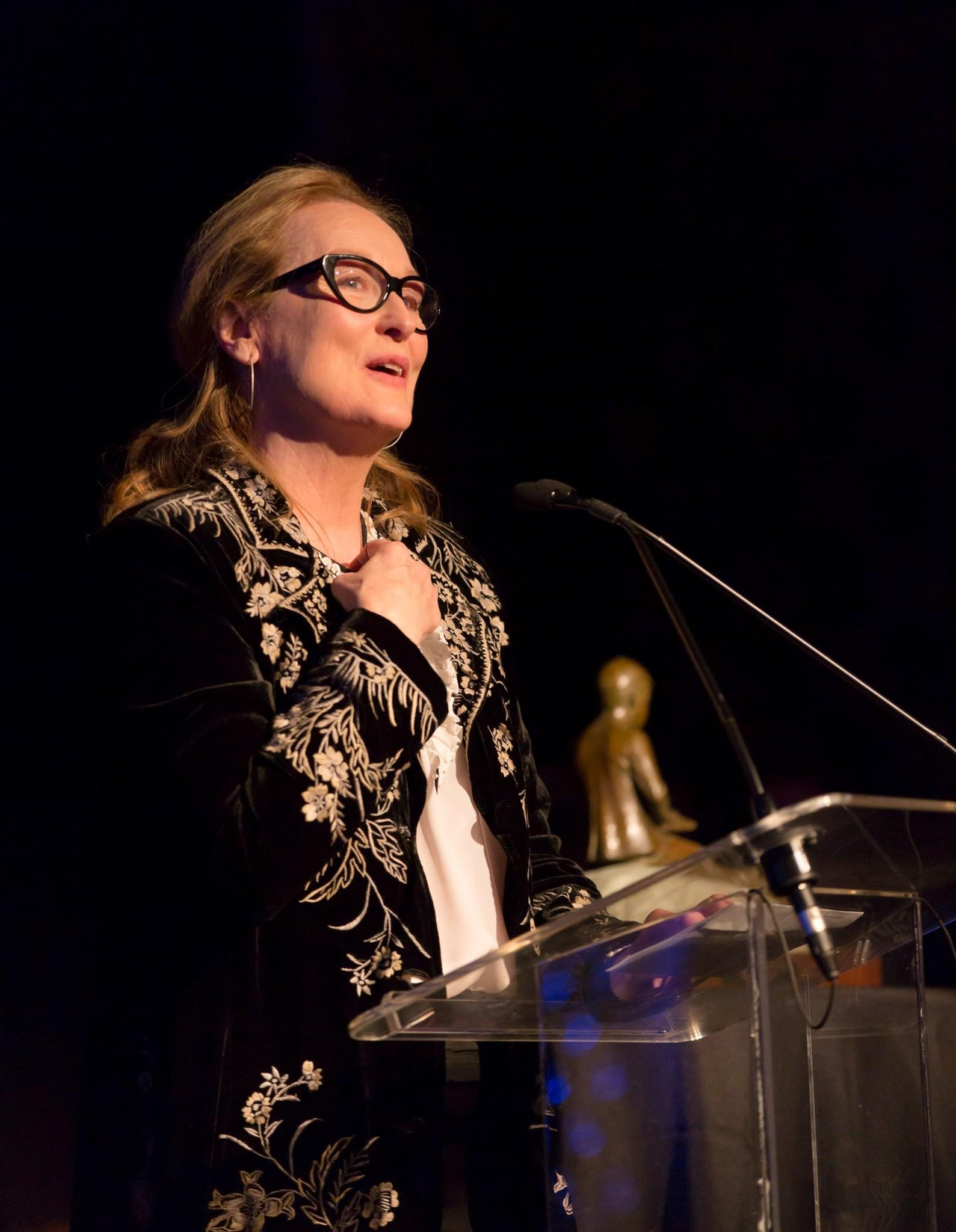 Meryl Streep at the Monte Cristo Award banquet in New York. The event was a fundraiser for the Eugene O'Neill Theater Center in Waterford.