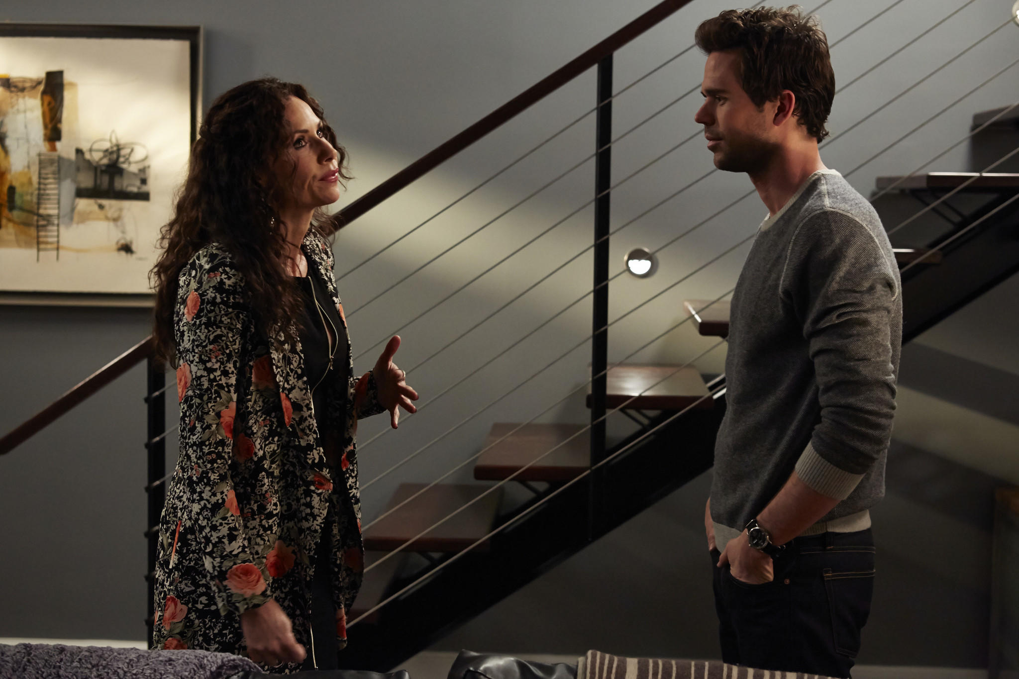 """Minnie Driver and David Walton in """"About A Boy."""""""