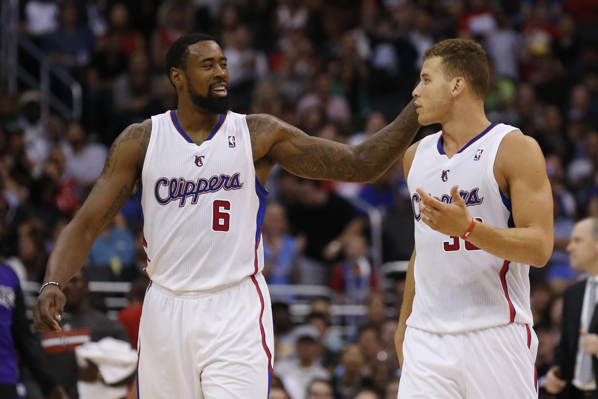 DeAndre Jordan, left, and Blake Griffin during a game against the Sacramento Kings on April 12.