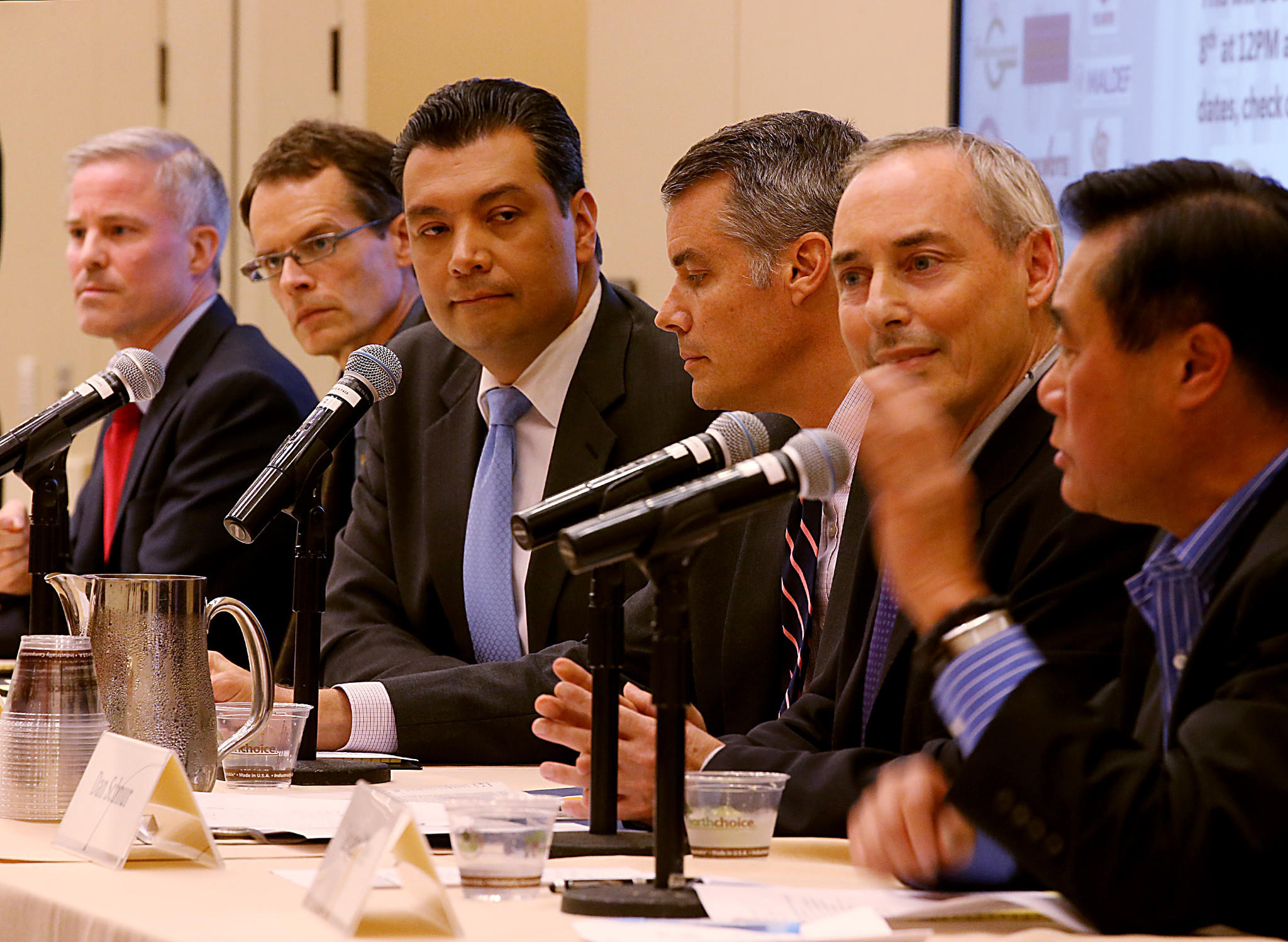 The crowded field of candidates for the office of secretary of state of California includes, from left: Derek Cressman, David S. Curtis, Alex Padilla, Pete Peterson, Dan Schnur and Leland Yee. The candidates are shown at a forum in downtown Los Angeles on March 3.