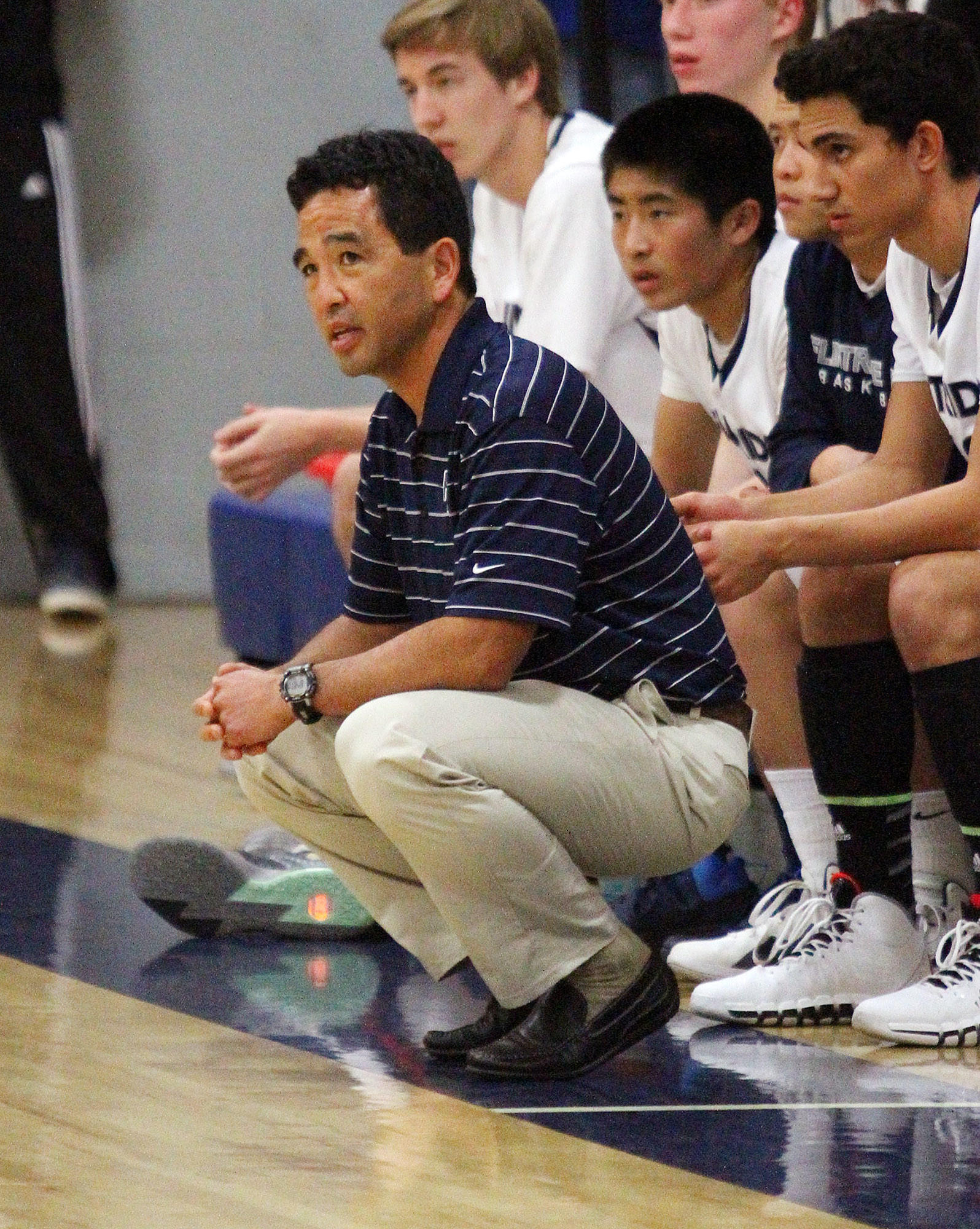 Flintridge Prep's coach Garrett Ohara against Providence in a boys basketball game at Flintridge Prep on Tuesday, January 8, 2014.