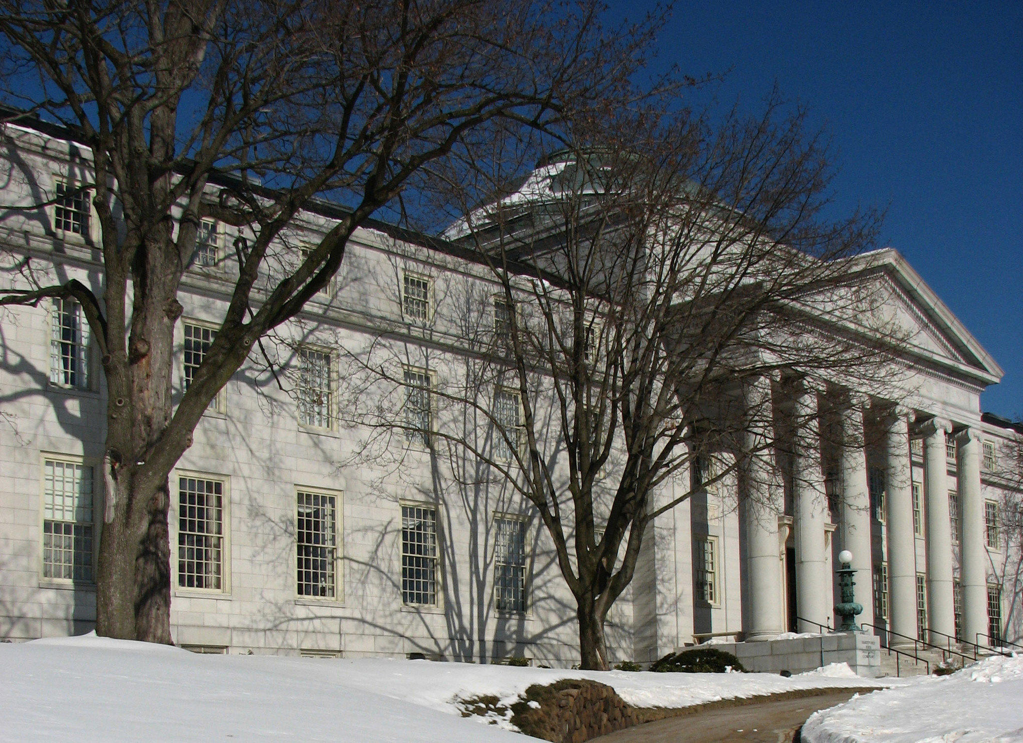 The Hartford will move 700 workers from its Simsbury office to the company's Asylum Hill headquarters in Hartford, pictured here.