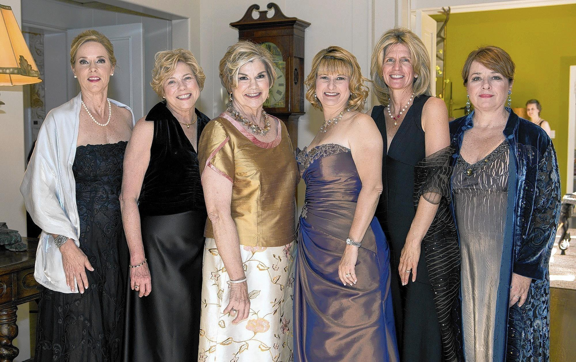 The core team of the 2014 Pasadena Showcase House of Design are, from left, exterior chair Karen Butcher; benefit assistant Marti Farley, benefit chair Mary Ann Clayton; President Donna Gotch; exterior chair Annette Sellon and interior chair Karol Franks. They're looking glamorous at the premiere opening night party of the Showcase House.