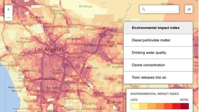 EPA map of California tracks pollution