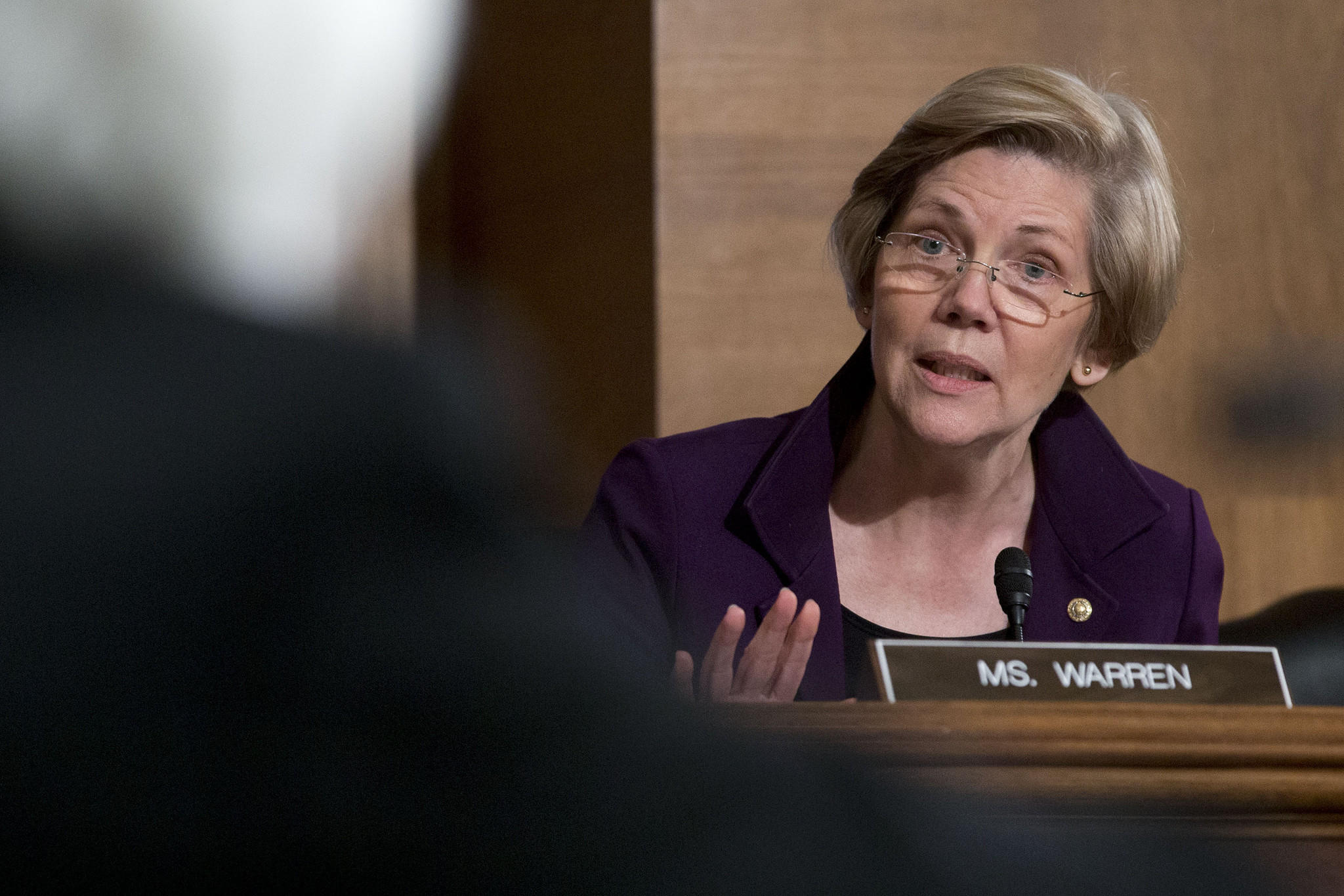 Sen. Elizabeth Warren, a Democrat from Massachusetts, questions Chairman of the U.S. Federal Reserve Janet Yellen during a Senate Banking Committee hearing in Washington, D.C. Warren's newly released book criticizes California gubernatorial candidate Neel Kashkari.