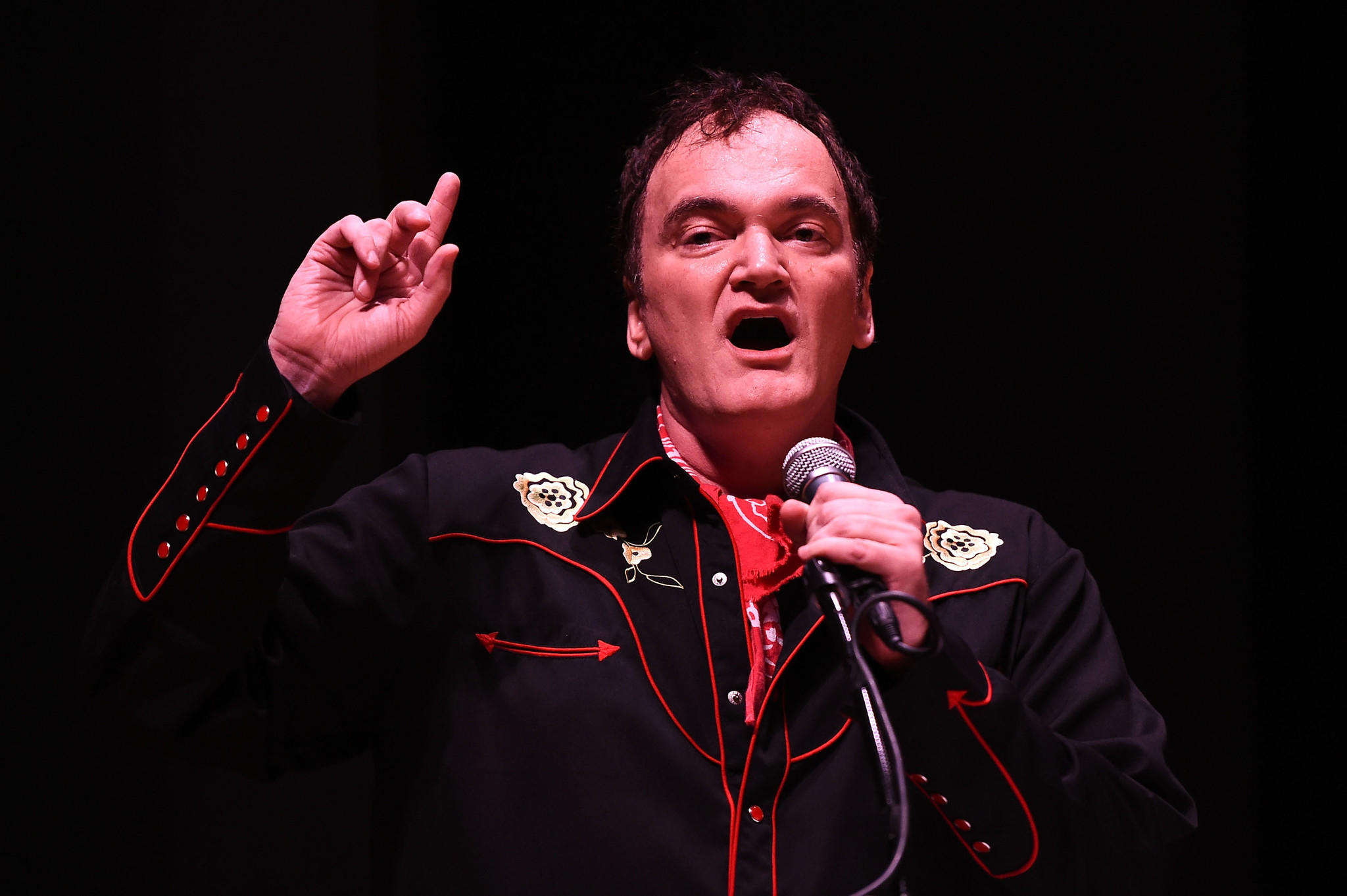 "Quentin Tarantino directing a staged reading of ""The Hateful Eight"" on Saturday in Los Angeles."