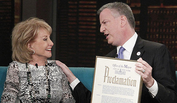 "Barbara Walters receives her mayoral proclamation from Bill de Blasio on ""The View."""