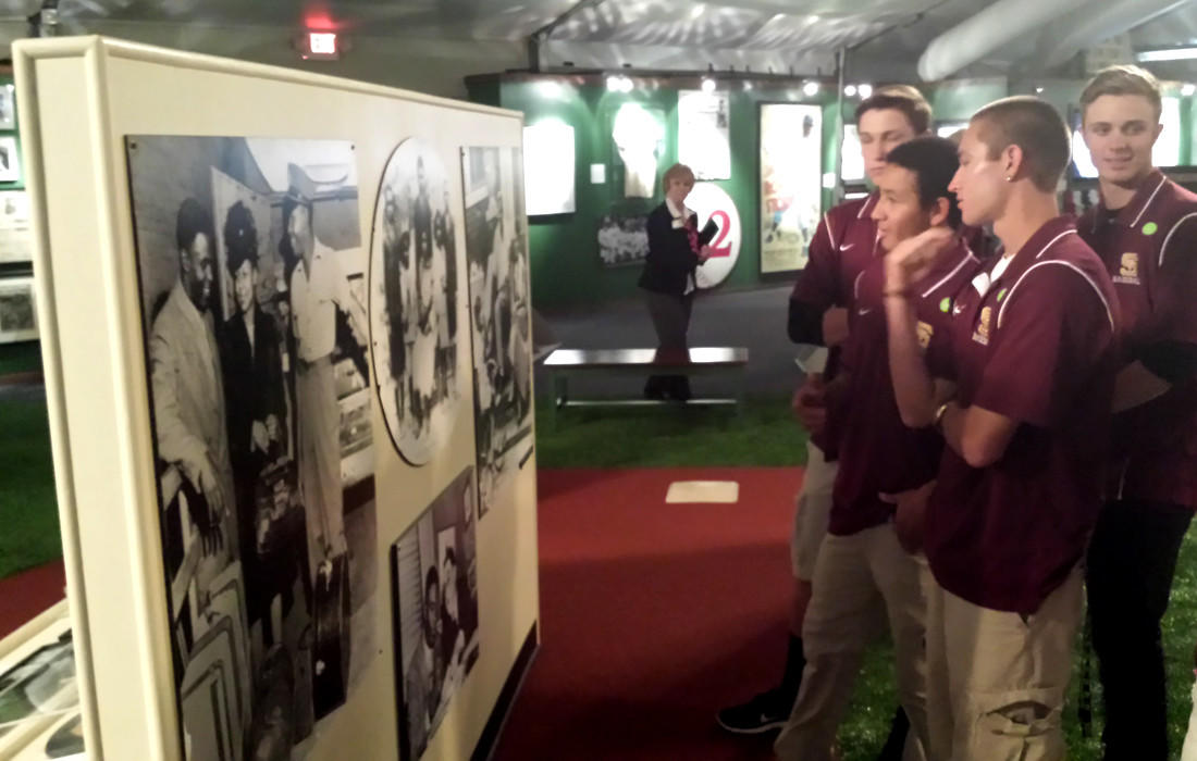 Simi Valley High baseball players view an exhibit at the Ronald Reagan Presidential Library.