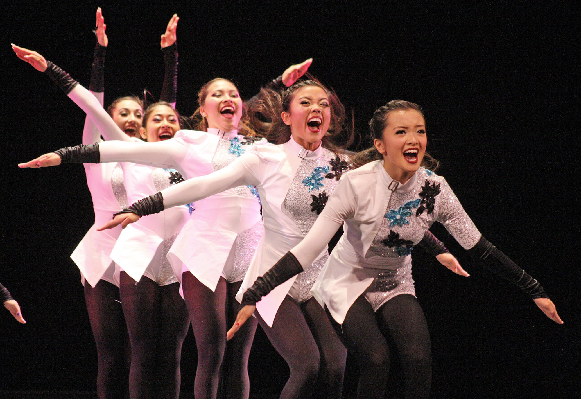 Glendale High's small military squad performs during Glendale High's Dance Revue, held April 17 and 18. Pictured from left, Alyssa Cancilla, Faith Garcia, Sandra Vasquez, Lara Singzon, Amber Borillo.
