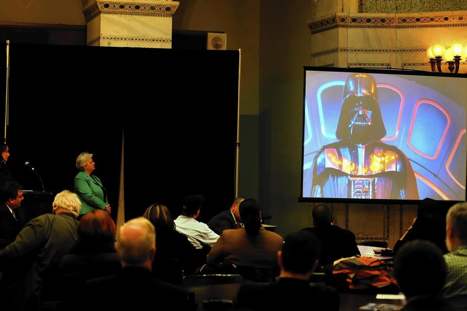 A video with Darth Vader plays as citizens and a site selection task force gather at the Chicago Cultural Center to discuss the city's bid to land the Lucas Cultural Arts Museum.