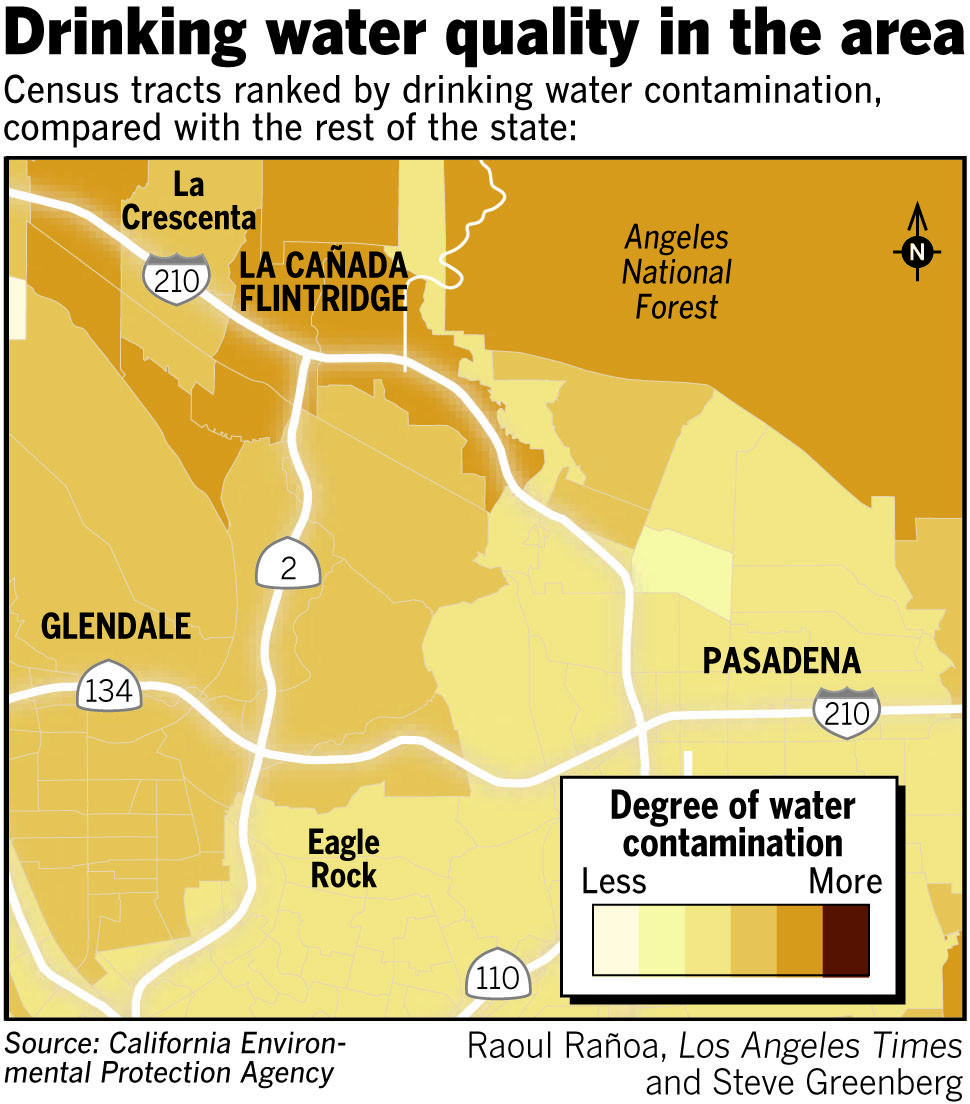 Census tracts ranked by drinking water contamination, based on data released by the Environmental Protection Agency.