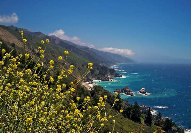 The coast of Big Sur in central California looking south near Julia Pfeiffer Burns State Park. A new report says the state could do more to improve parks and green space throughout California.