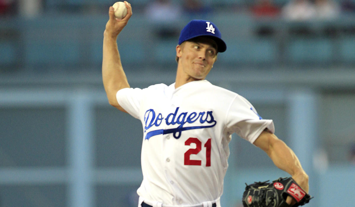 Dodgers starting pitcher Zack Greinke gave up only five hits and struck out 11 in seven-plus innings against the Phillies on Wednesday night at Dodger Stadium.