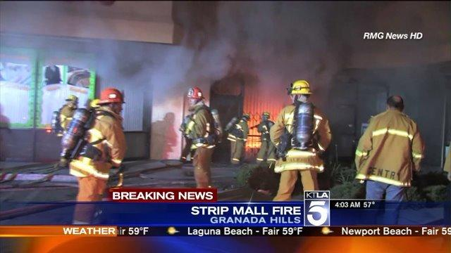 Fire Erupts at Granada Hills Strip Mall