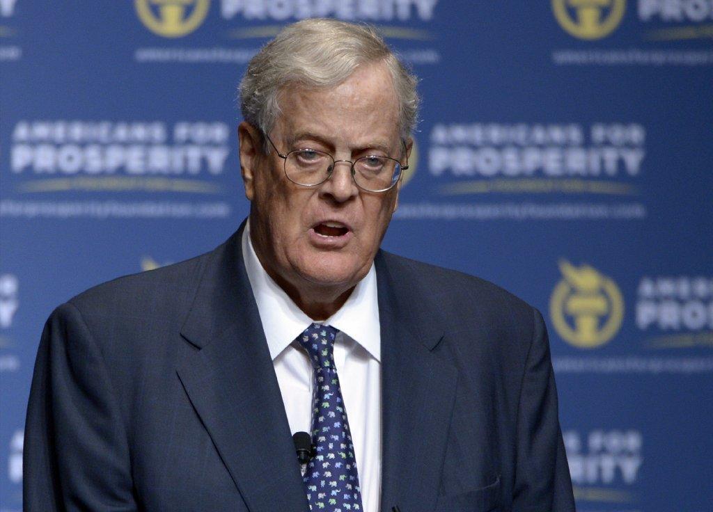 Americans for Prosperity Foundation Chairman David Koch is seen speaking in Florida last year.