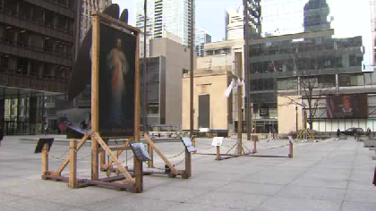 Video: Religious display vandalized in Daley Plaza
