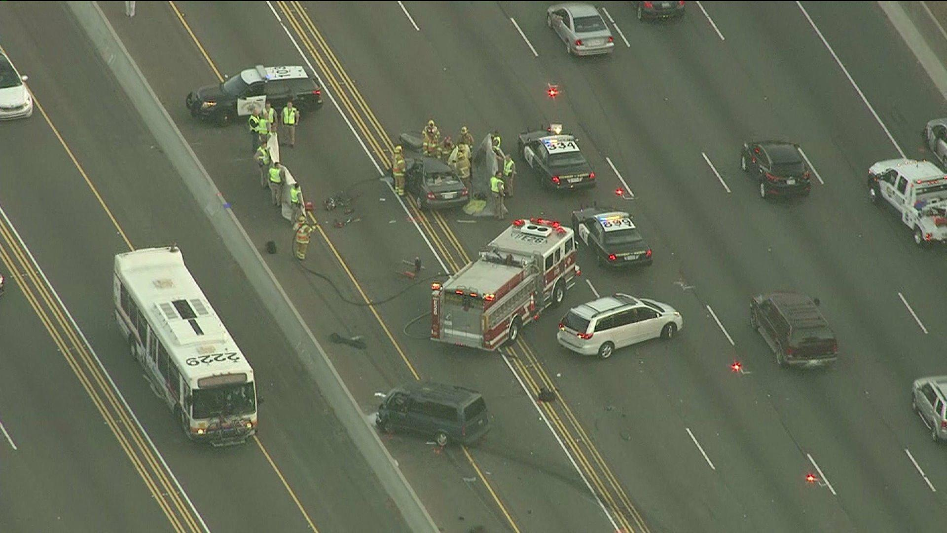 A crash that killed two people on the 5 Freeway in Irvine snarled the morning commute in both directions.