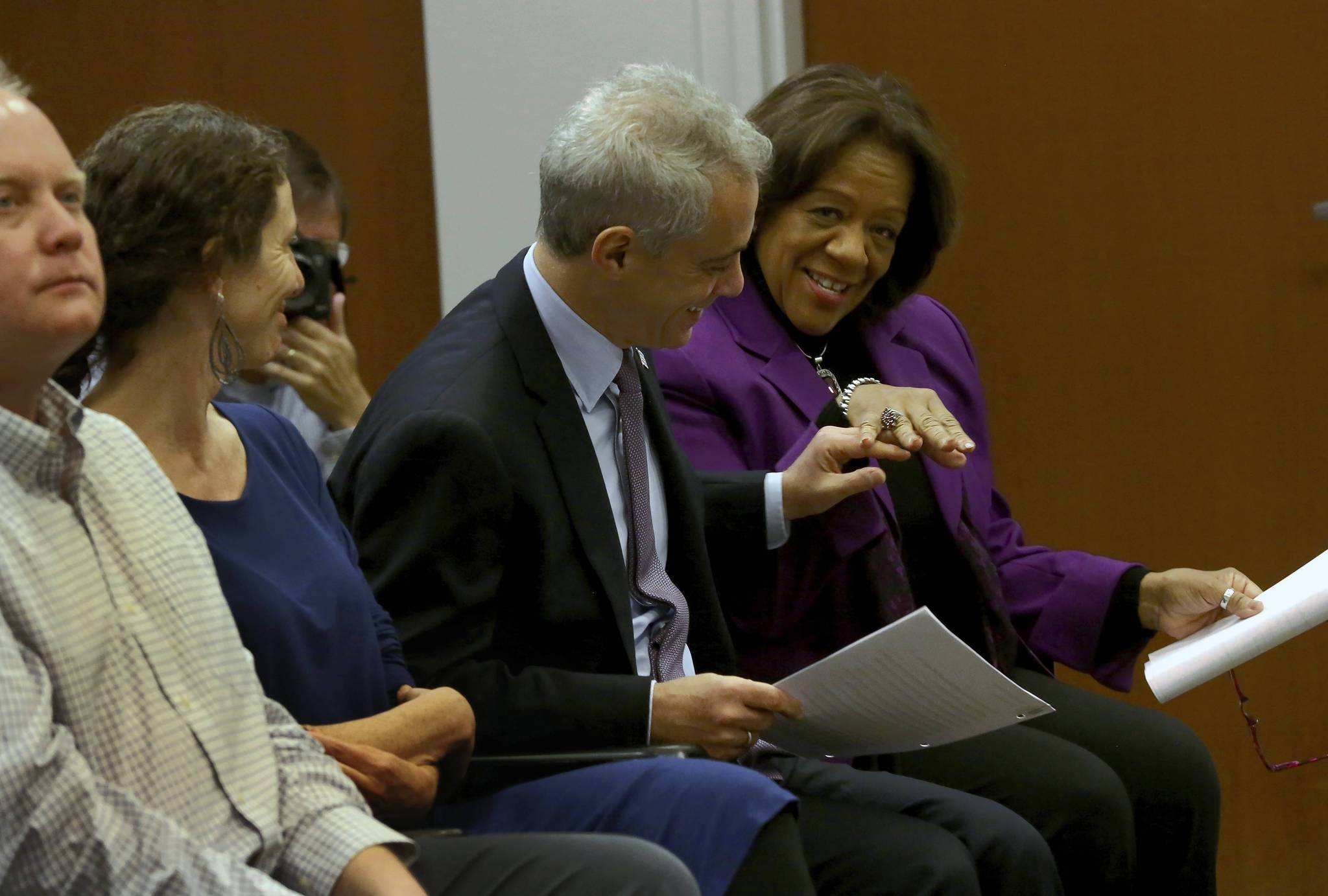Mayor Rahm Emanuel and Chicago Public Schools Superintendent Barbara Byrd-Bennett are all smiles as they attend a press conference in Chicago with the University of Chicago Consortium on Chicago School Research about CPS students being on track to 82 percent graduation rate.