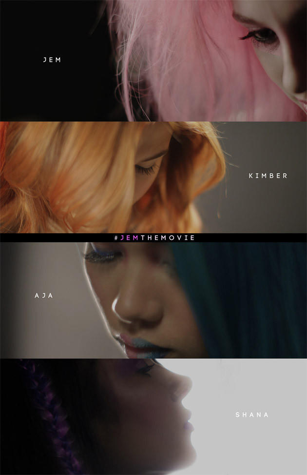 """The first official image released from the """"Jem and the Holograms"""" live-action reboot reveals the cast. (Top to bottom) Aubrey Peeples, Stefanie Scott, Hayley Kiyoko and Aurora Perrineau."""