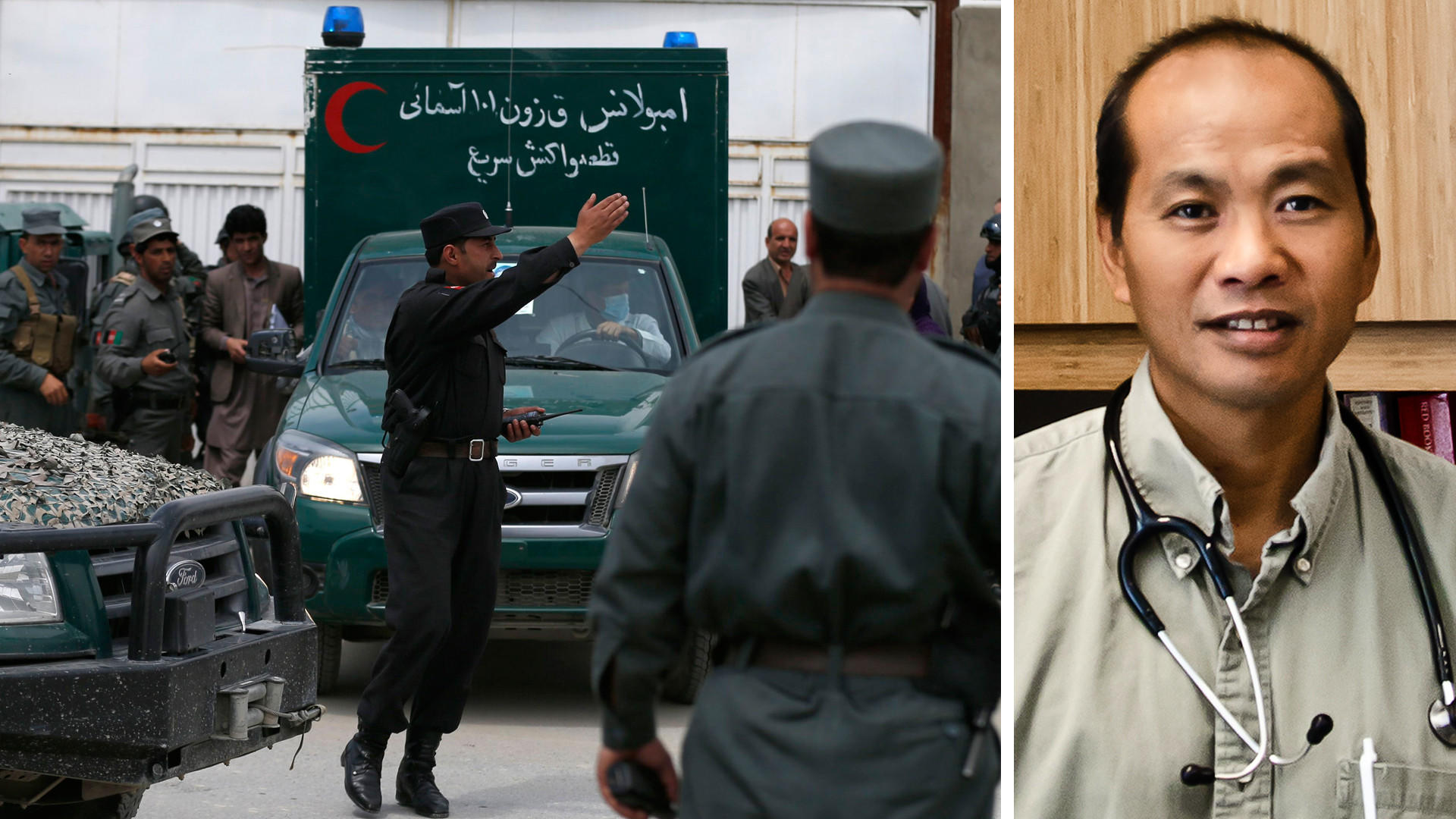 Left: An ambulance carrying victims of a shooting leaves through the gate of the Cure hospital in Kabul, Afghanistan today. Right: Chicago pediatrician Dr. Jerry Umanos, was one of three Americans killed.