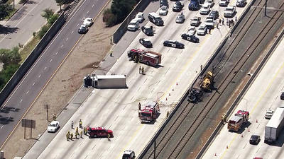 Big rig collision shuts down eastbound 210 freeway