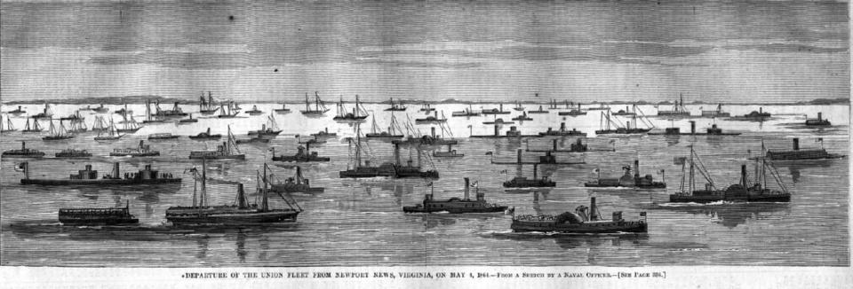 More than 200 vessels converged in Hampton Roads for the Army of the James' Bermuda Hundred Campaign up the James River. This illustration of the vast fleet appeared in Harper's Weekly May 21, 1864.