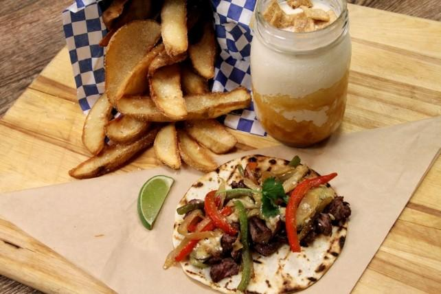 "Fries, the ""Brotherly Love"" taco and a milkshake from U.S. Taco Co., opening in the next few months in Huntington Beach."