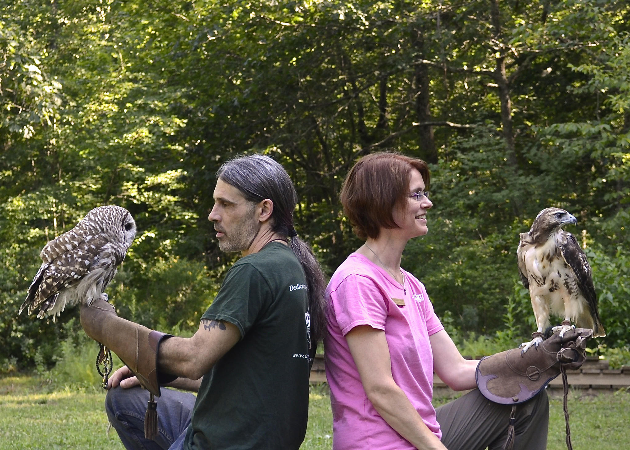 "Wild Birds of Prey handlers Christine Cummings-Secki and Todd Secki from ""A Place Called Hope"""