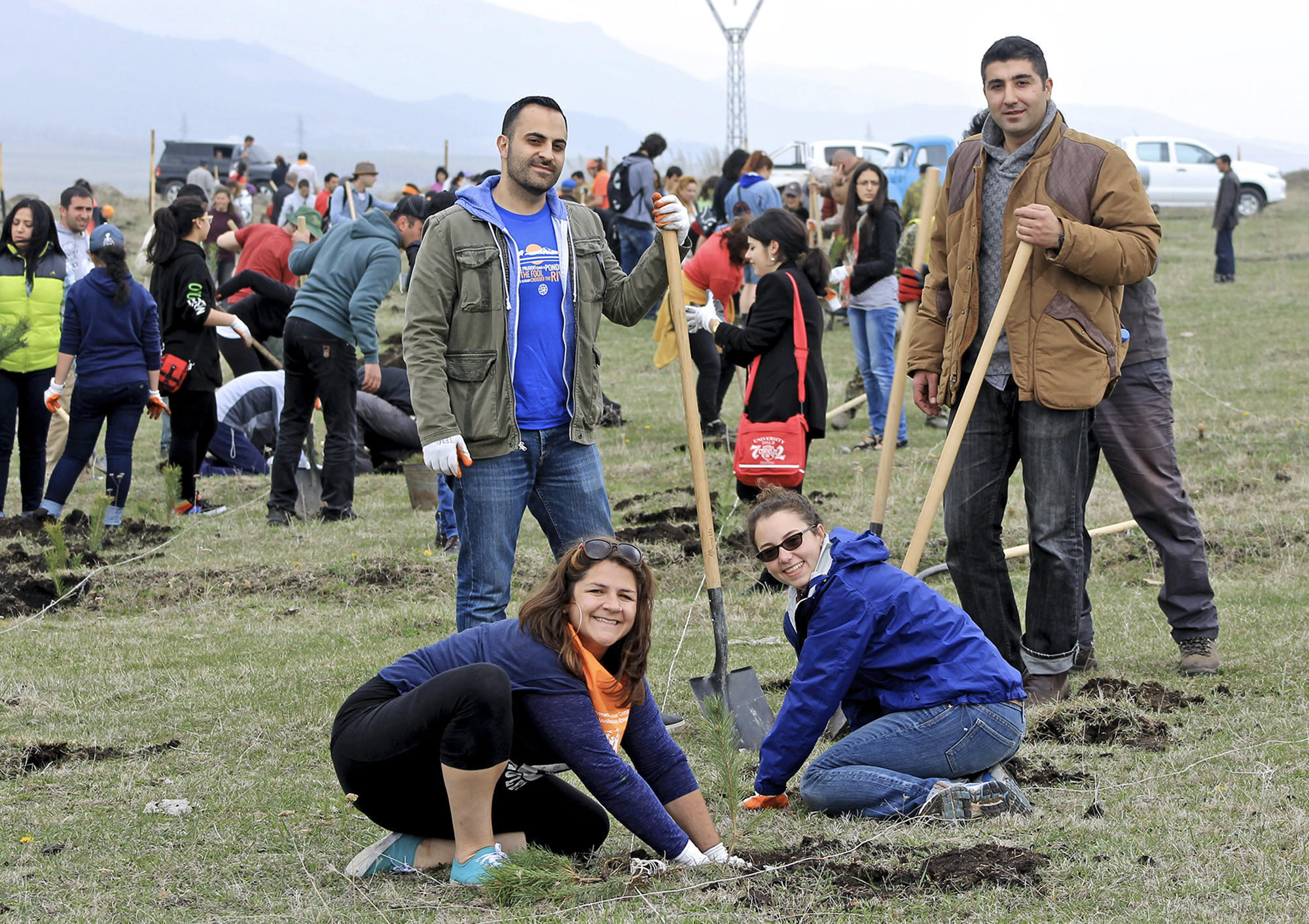 About 150 volunteers helped planted 20,000 trees in a memorial forest honoring Sos Thomassian and Allen Yekikian, a young couple whose unexpected death last year shook the Glendale Armenian community. The remaining of the planned 50,000 trees will be planted in the fall. Some of the volunteers included Vach Thomassian (top left), Vrej Haroutounian (top right), Ali Hamlin (bottom left) and Nina Roma Agvanian (bottom right).