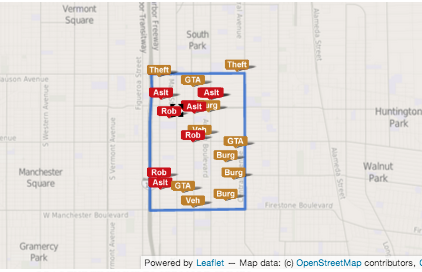 The map shows recent crimes reported where police say LAPD officers shot a man armed with a sword.