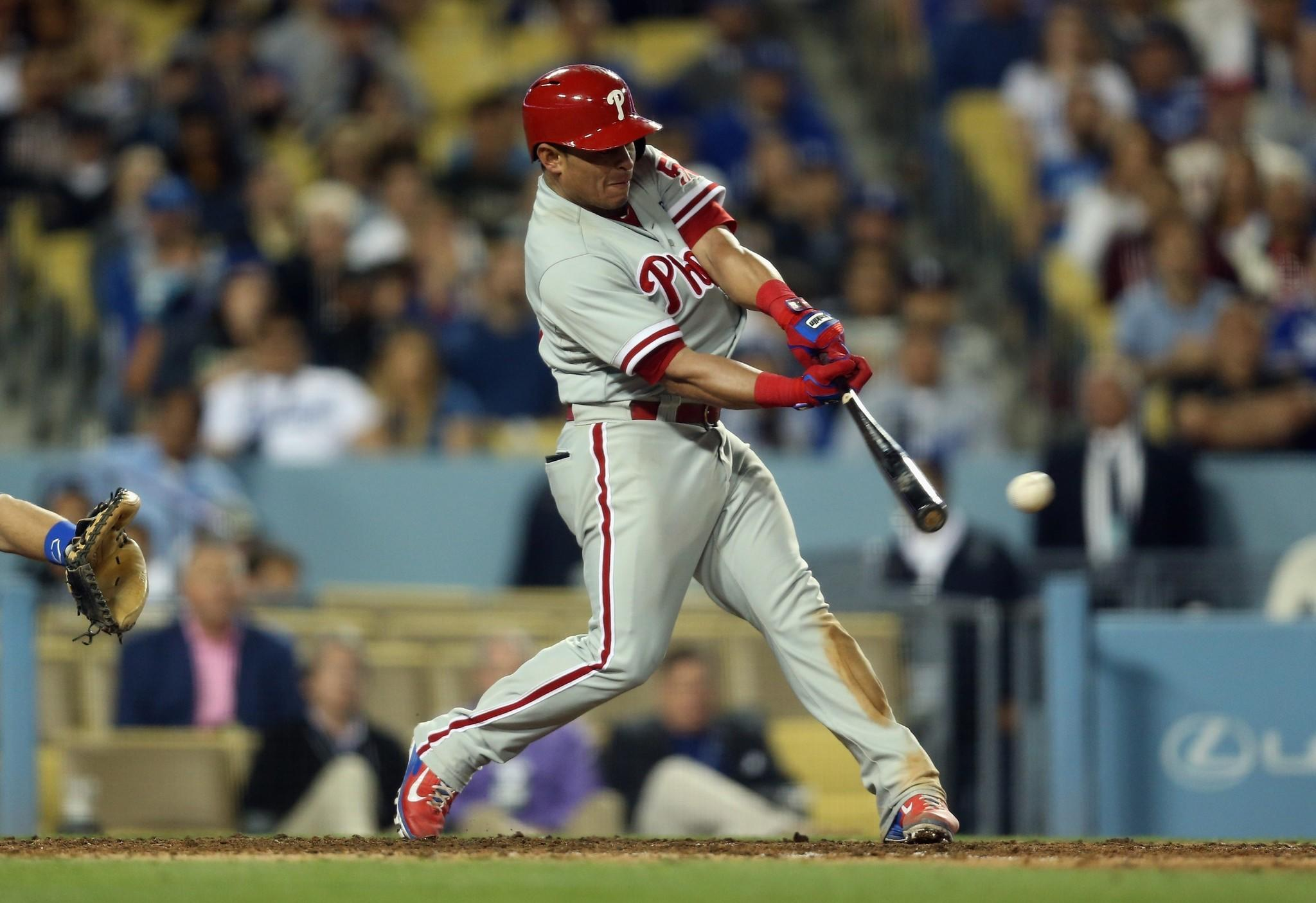 Carlos Ruiz's two-run double in the ninth inning lead to a four run inning for the Phillies and a 7-3 victory over the Dodgers on Thursday at Dodger Stadium.
