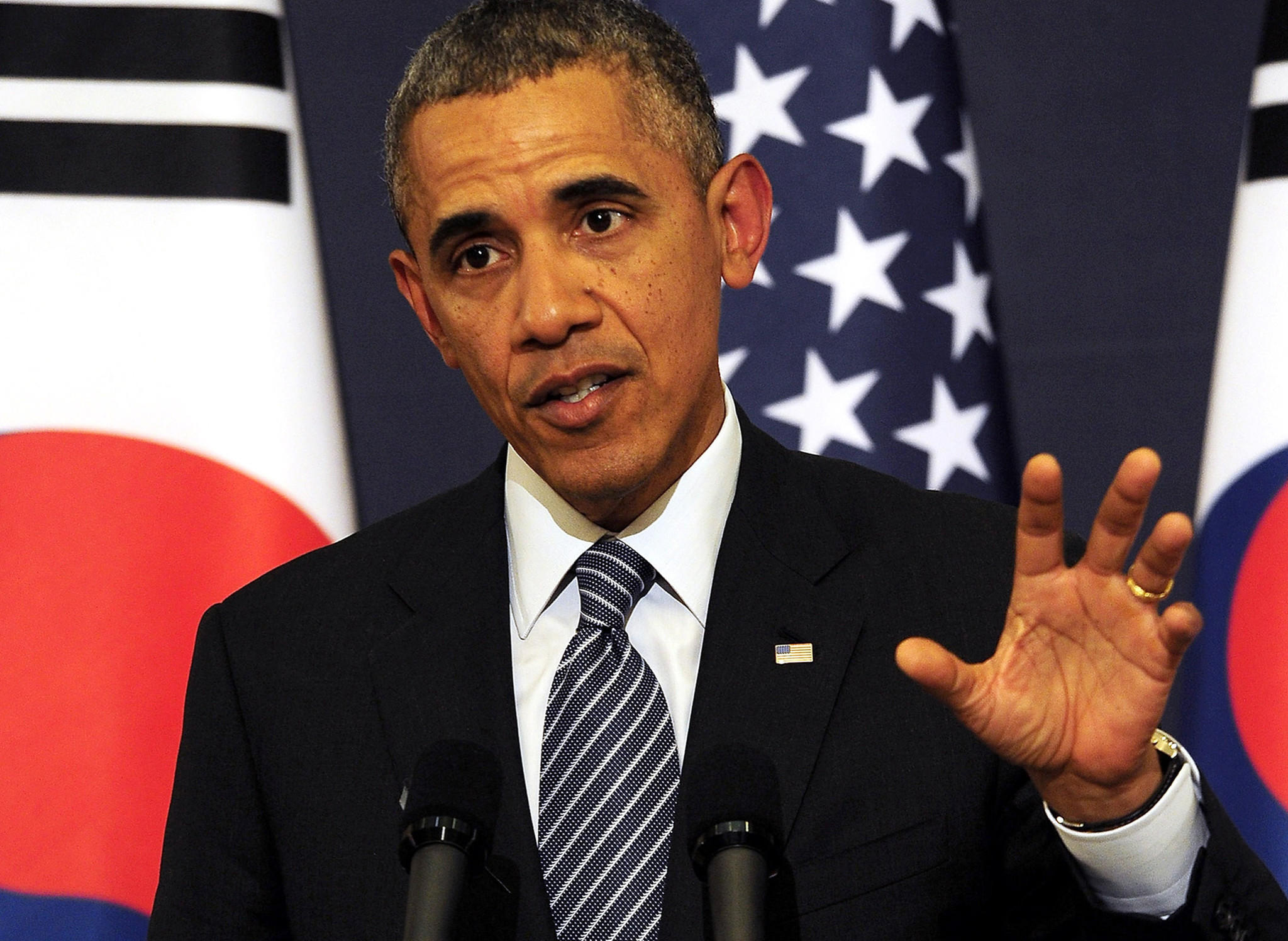 President Barack Obama speaks during a joint press conference with South Korean president Park Geun-Hye at the presidential Bule House on April 25.