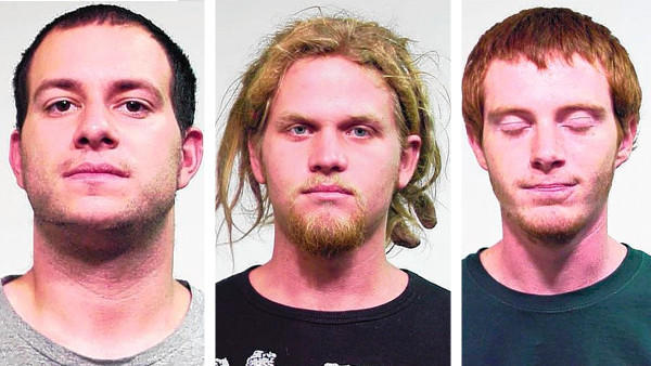 Jared Chase (left) and Brent Betterly (center) and Brian Church were convicted of possessing Molotov cocktails but acquitted of more serious terrorism charges by a jury in February.