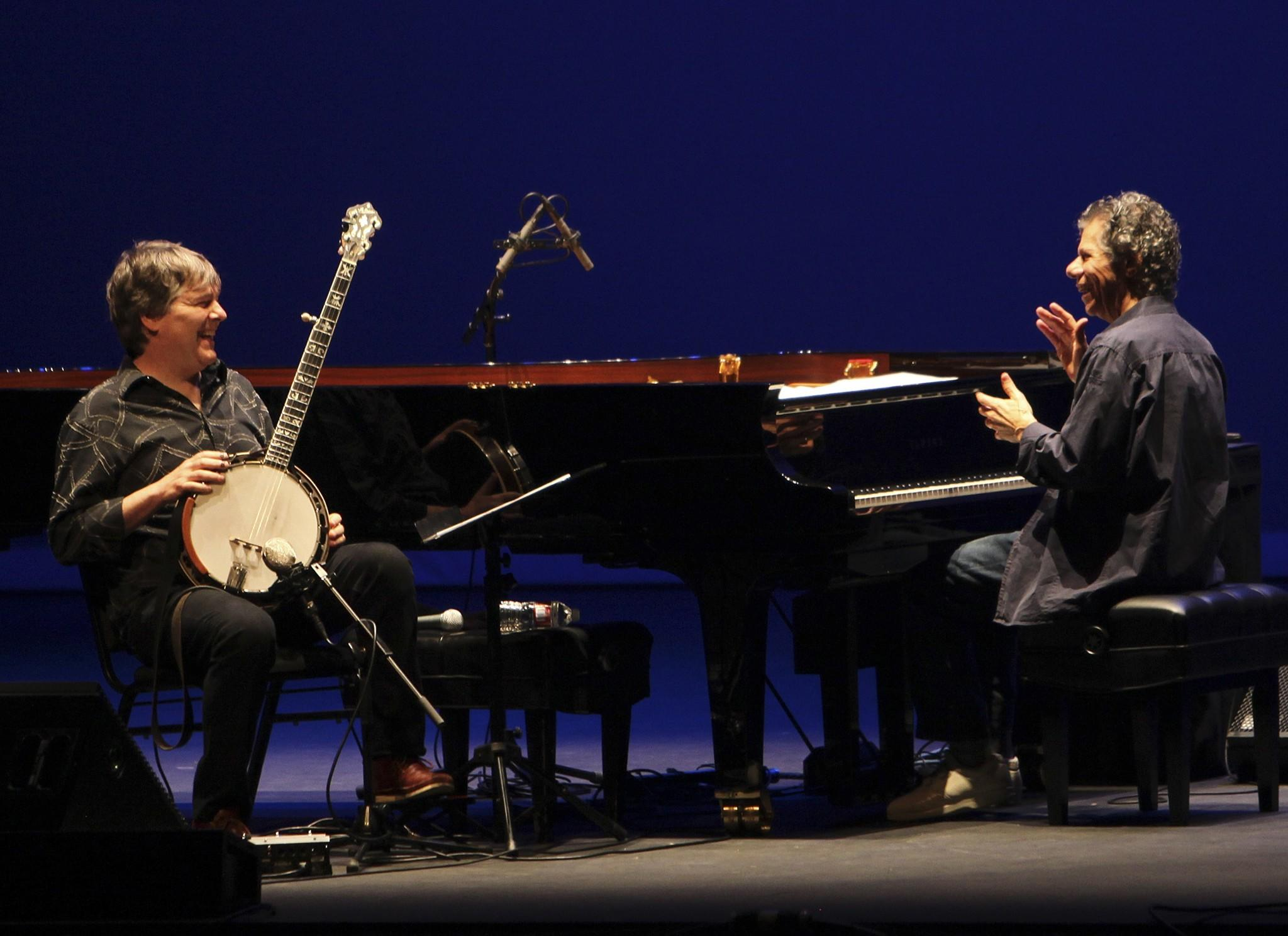 Bela Fleck and Chick Corea perform at UCLA's Royce Hall.