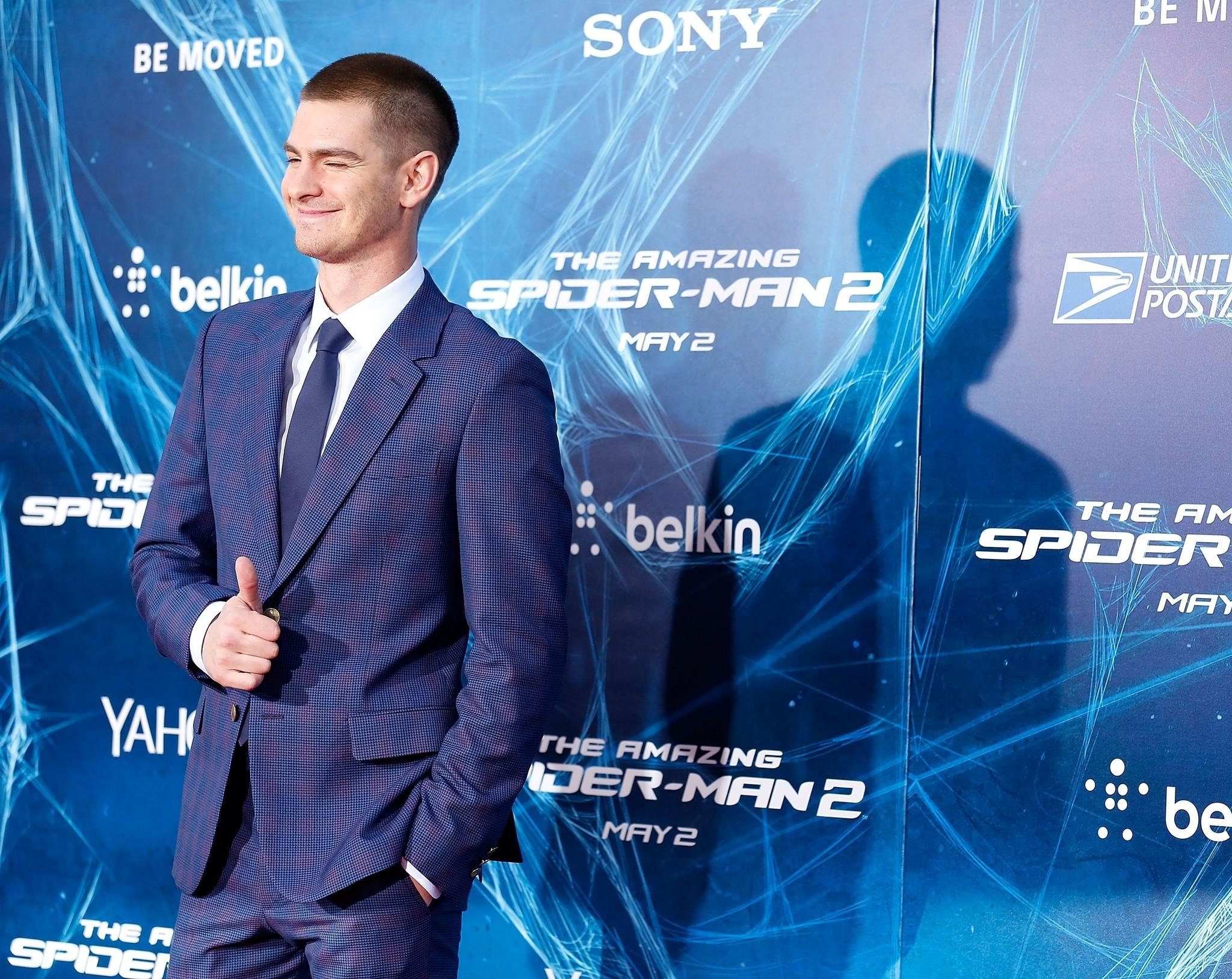 """Andrew Garfield at """"The Amazing Spider-Man 2"""" premiere at the Ziegfeld Theater in New York."""