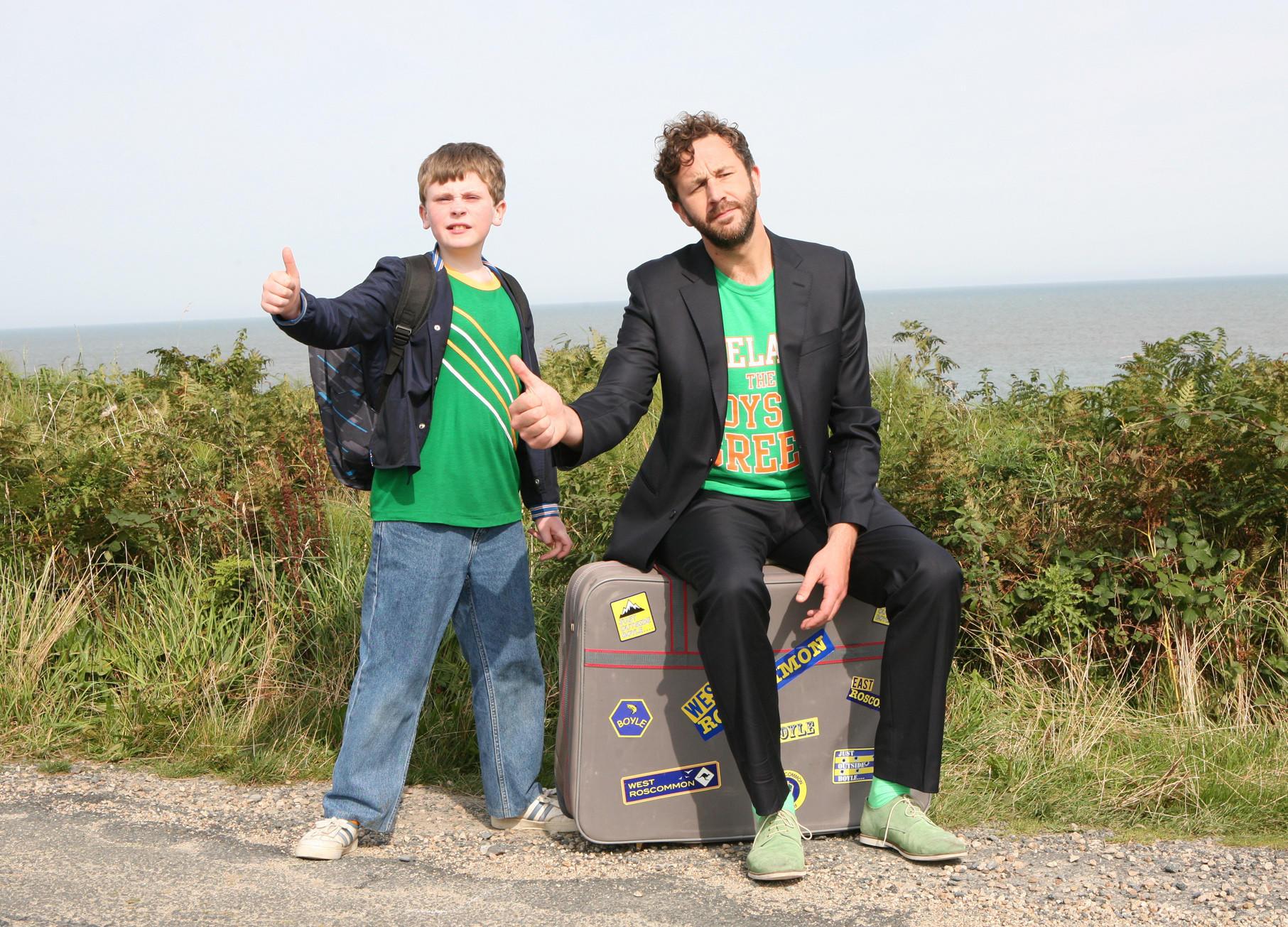 "Chris O'Dowd, right, plays Sean, the imaginary friend of Martin (David Rawle) in ""Moone Boy,"" whose second season is on Hulu."