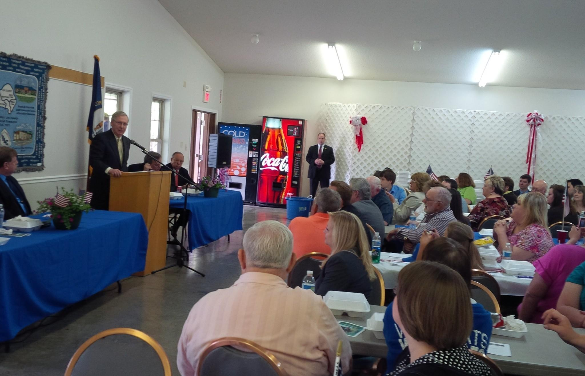 Senate Republican Leader Mitch McConnell speaks at a luncheon at the Happy Top Community Center in Beattyville, Ky.